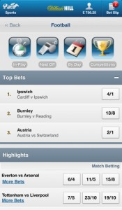 William Hill iPhone betting app screen shot