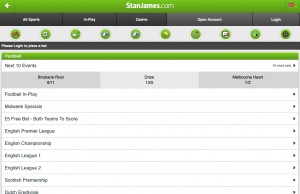 Stan James Mobile app as viewed on an iPad