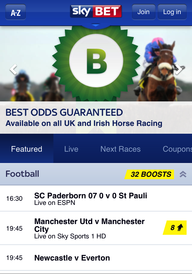 Sky Bet mobile app - Best odds guaranteed