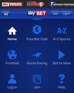 The Sky Bet Mobile App quick link menu