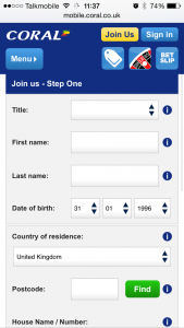 Registration screen on the Coral mobile app