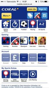The Coral Mobile App - Main Menu