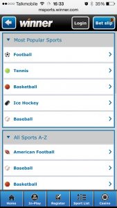 The Winner mobile sports app's main menu screen