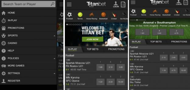 Titanbet app screen shots