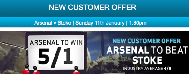 Arsenal v Stoke Odds of 5/1