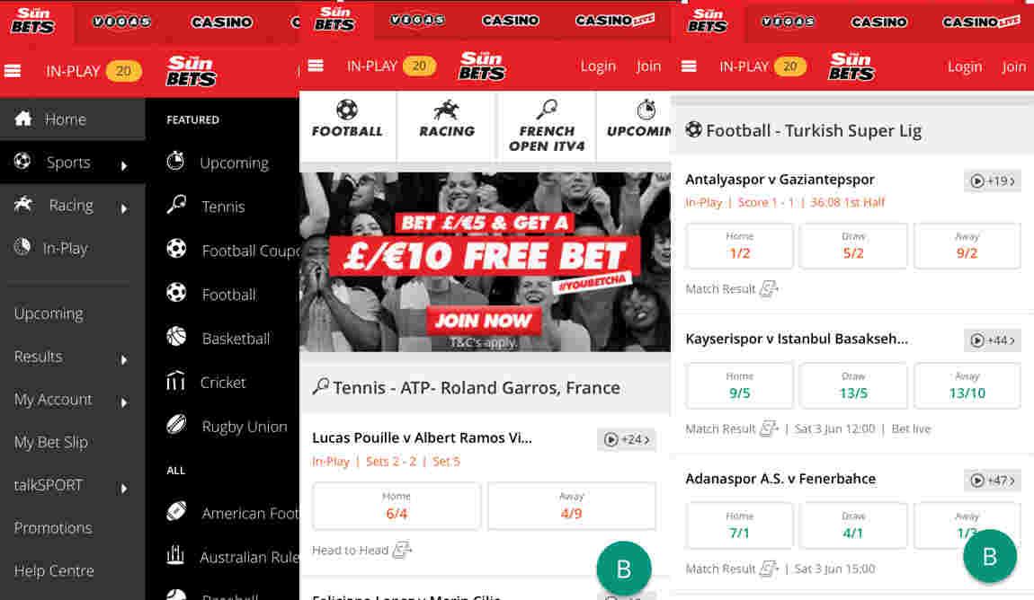 Sun Bet app - screen shots